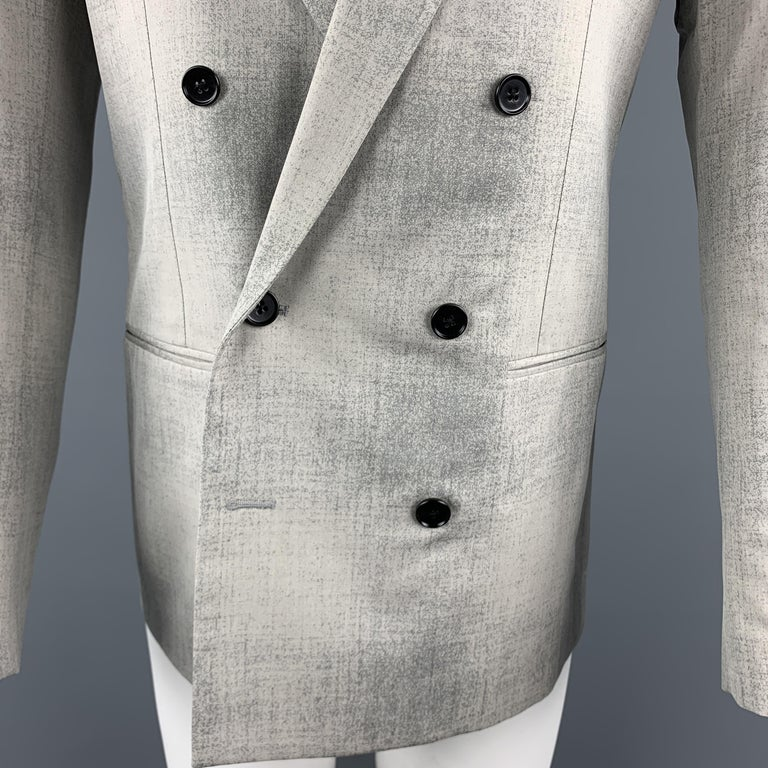 MAISON MARGIELA Sartorial Size 38 Gray Marbled Wool Peak Lapel Double Breasted S In Excellent Condition For Sale In San Francisco, CA