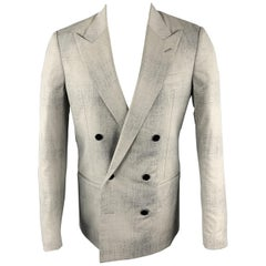 MAISON MARGIELA Sartorial Size 38 Gray Marbled Wool Peak Lapel Double Breasted S