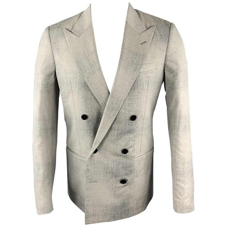 MAISON MARGIELA Sartorial Size 38 Gray Marbled Wool Peak Lapel Double Breasted S For Sale