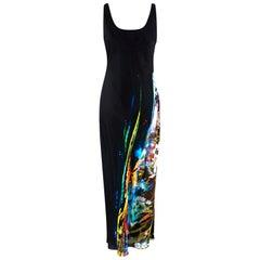 Maison Margiela Silk Blend Moving Metallics Print Dress - Size US 10