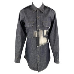 MAISON MARGIELA Size 0 Navy Denim Mesh Trim Oversized Shirt