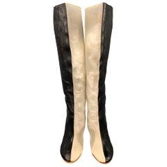 MAISON MARGIELA Size 10 Black & Beige Leather Mesh Knee High Boots