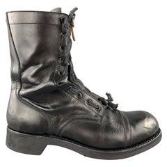 MAISON MARGIELA Size 10 Black Leather REPLICA Columbus Giorgia  Military Boots