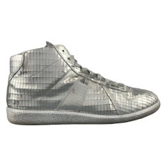 MAISON MARGIELA Size 10 Silver Metallic Leather Disco Ball High Top Sneakers