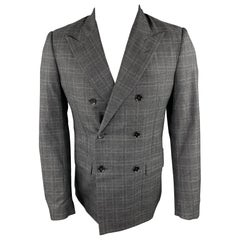 MAISON MARGIELA Size 38 Charcoal Plaid Wool / Silk Peak Lapel Sport Coat