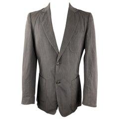 MAISON MARGIELA Size 40 Dark Gray Linen / Cotton Notch Lapel Patch Pockets Sport