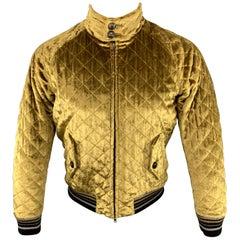 MAISON MARGIELA Size 40 Quilted Gold Velvet Zip Up Jacket