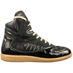 MAISON MARGIELA Size 9 Black Patent Leather High Top Replica Gum Sole Sneakers