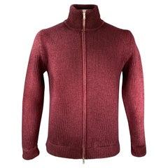 MAISON MARGIELA Size L Burgundy Knit Wool Zip Up Cardigan Jacket