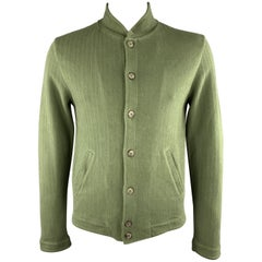 MAISON MARGIELA Size L Green Herringbone Cotton Nehru Collar Button Up Jacket