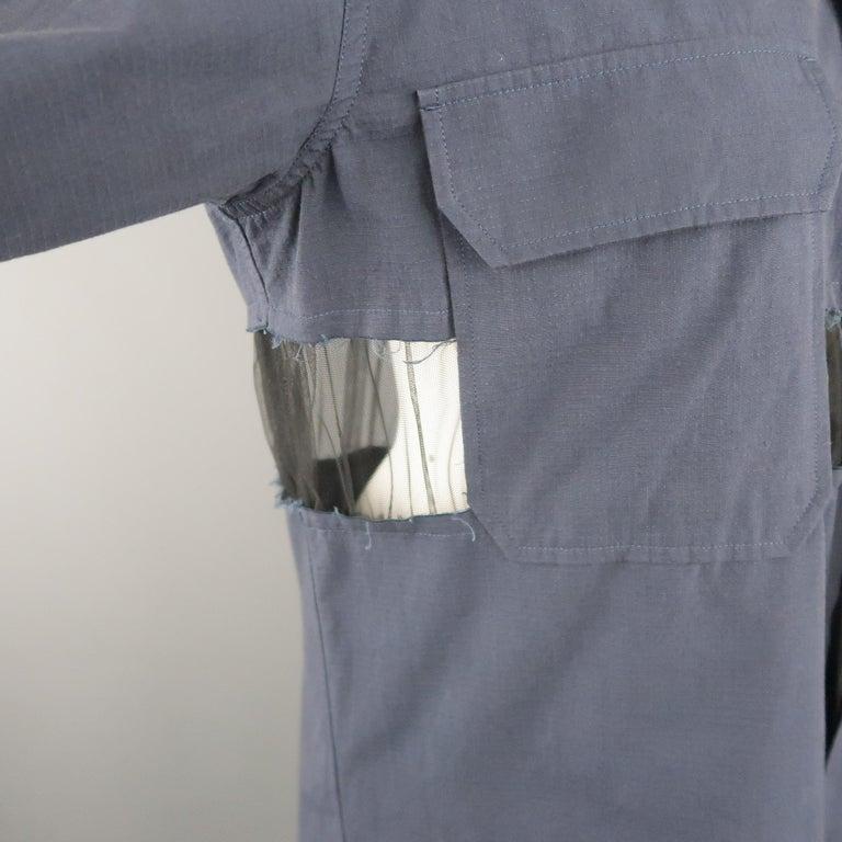 MAISON MARGIELA Size L Navy Black Tulle Panel Oversized Long Sleeve Shirt For Sale 6