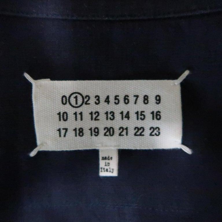 MAISON MARGIELA Size L Navy Black Tulle Panel Oversized Long Sleeve Shirt For Sale 7