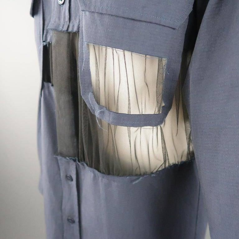 MAISON MARGIELA Size L Navy Black Tulle Panel Oversized Long Sleeve Shirt For Sale 1