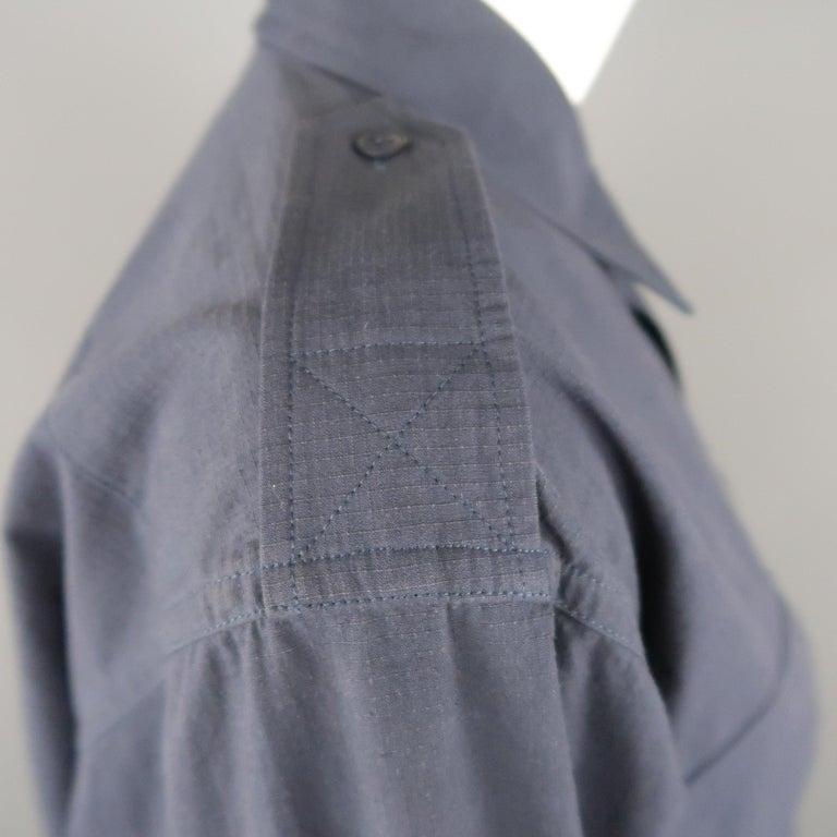 MAISON MARGIELA Size L Navy Black Tulle Panel Oversized Long Sleeve Shirt For Sale 2