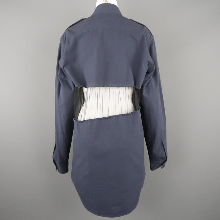 MAISON MARGIELA Size L Navy Black Tulle Panel Oversized Long Sleeve Shirt For Sale 4