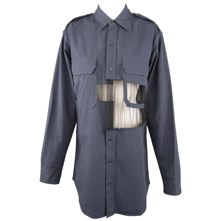 MAISON MARGIELA Size L Navy Black Tulle Panel Oversized Long Sleeve Shirt For Sale