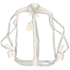 MAISON MARGIELA Size L White Deconstructed Cut Out Fall 2018 Shirt