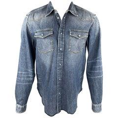 MAISON MARGIELA Size XL Indigo Washed Snaps Cotton Long Sleeve Shirt