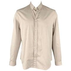 MAISON MARGIELA Size XL Light Grey Cotton Button Down Long Sleeve Shirt