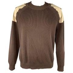 MAISON MARGIELA Size XXL Brown & Khaki Knitted Cotton Epaulettes Sweater