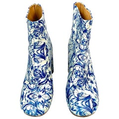 MAISON MARGIELA White and Blue Floral Print Leather Block Heel Booties SIZE 38.5