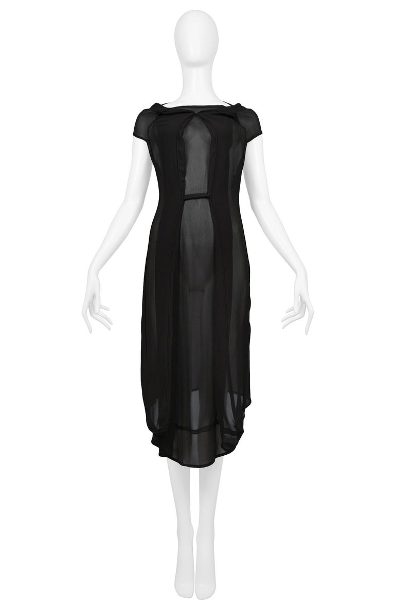 Vintage Maison Martin Margiela black chiffon car seat collection dress. Designed by Martin Margiela prior to the designer's 2009 retirement. Circa 2006.  Excellent Vintage Condition.  Size: 42  Measurements: Bust 36