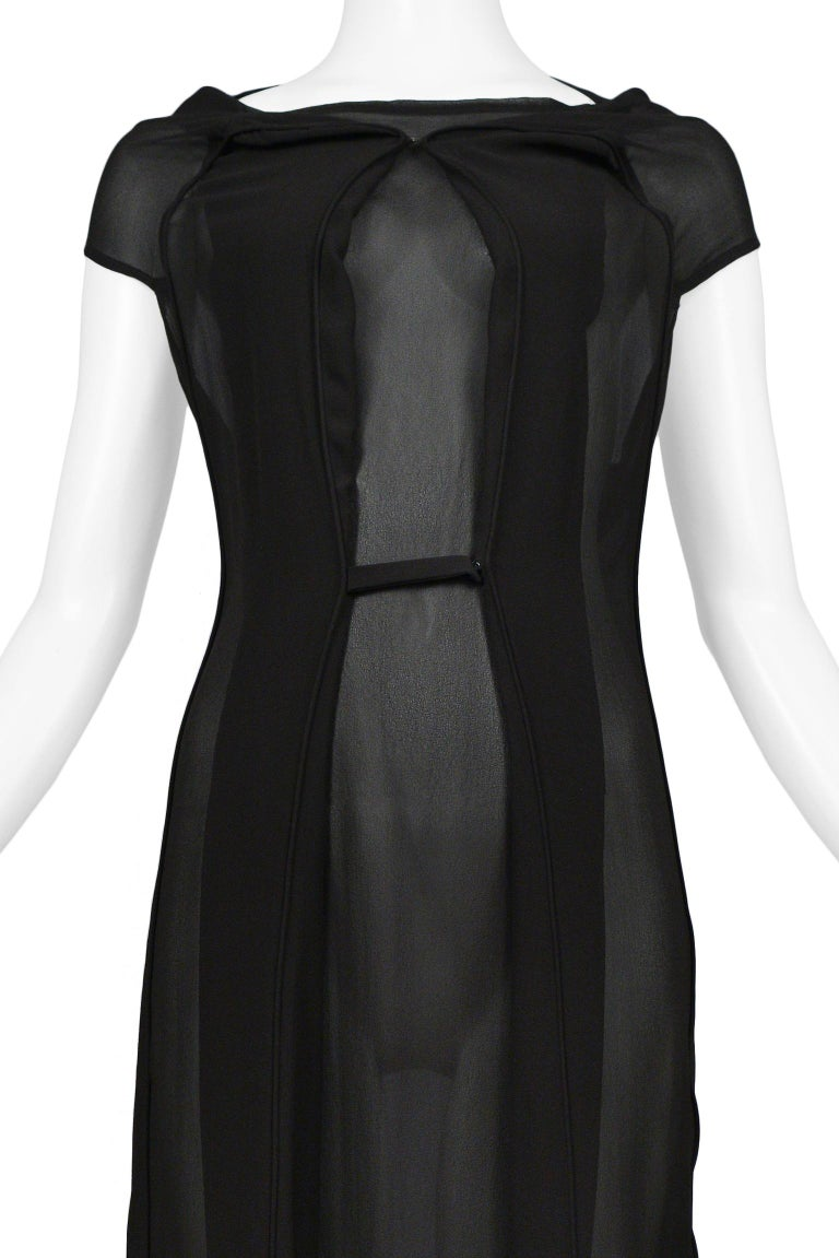 Maison Martin Margiela Black Chiffon Car Seat Collection Dress 2006 In Excellent Condition For Sale In Los Angeles, CA