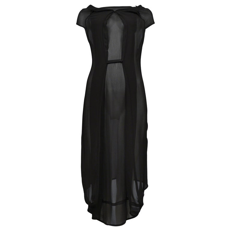 Maison Martin Margiela Black Chiffon Car Seat Collection Dress 2006 For Sale