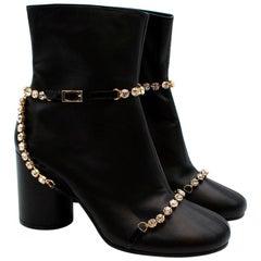 Maison Martin Margiela Black Leather Crystal Embellished Ankle Boots - Size 40