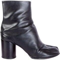 MAISON MARTIN MARGIELA black leather TABI Split Toe Boots Shoes 39.5