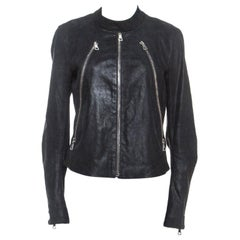 Maison Martin Margiela Black Leather Zip Detail Jacket L