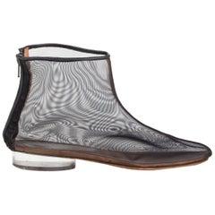 MAISON MARTIN MARGIELA black Mesh & Perspex Ankle Boots Shoes 36