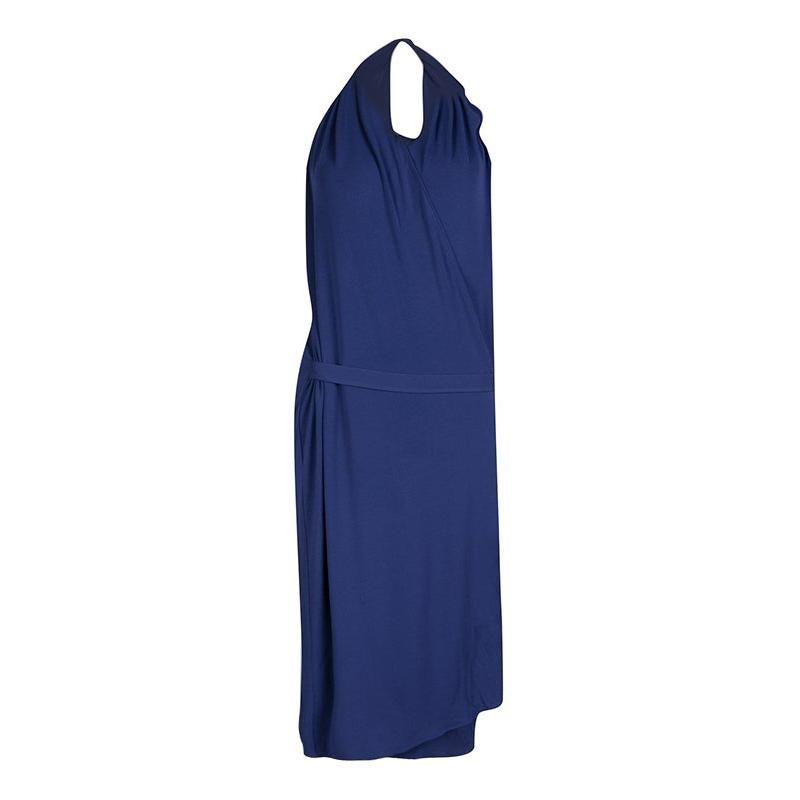 Maison Martin Margiela Blue Knit Halter Wrap Dress L