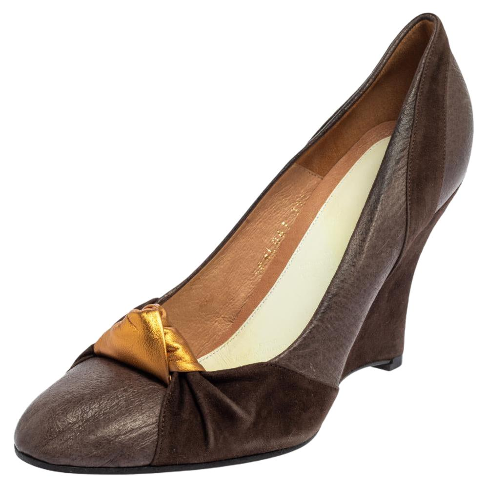 Maison Martin Margiela Brown Suede And Leather Pumps Size 39.5
