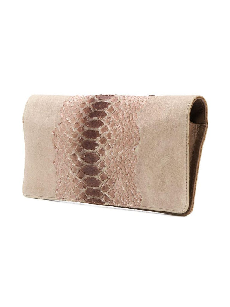 Martin Margiela camel brown suede snake effect clutch bag featuring a foldover top with snap closure, a detachable and adjustable shoulder strap and a snakeskin effect design to the front.   Width:11.4in. (29cm) Height: 75.5in. (14cm) We guarantee