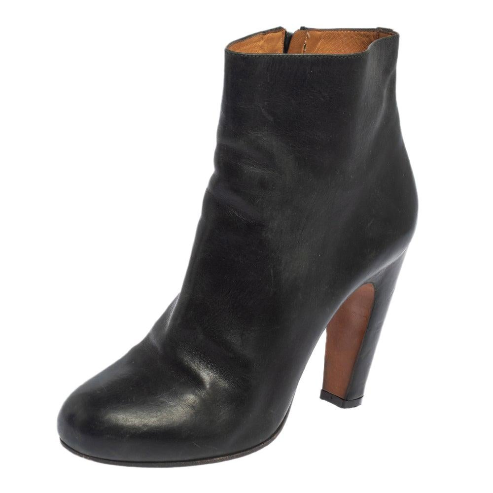 Maison Martin Margiela Dark Green Leather Ankle Boots Size 38