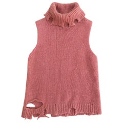 Maison Martin Margiela destroyed sleeveless Pink Knit AW 2000