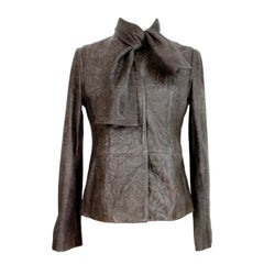 Maison Martin Margiela Gray Leather Biker Jacket 1990s