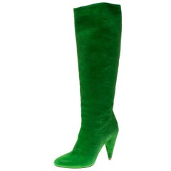 Maison Martin Margiela Green Textured Suede Knee Length Cone Heel Boots Size 38
