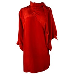 Maison Martin Margiela Paris Red Silk Mini Dress, Size 42