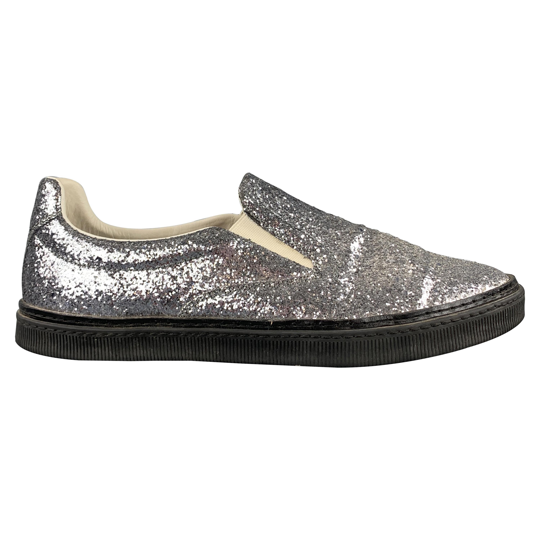 MAISON MARTIN MARGIELA Size 10 Silver Glitter Slip On Sneakers