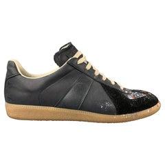 MAISON MARTIN MARGIELA Size 10.5 Grey & Black Paint Splatter Leather Sneakers