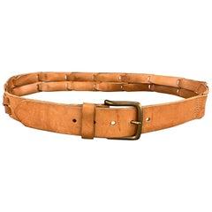 MAISON MARTIN MARGIELA Size 38 Tan Leather Link Straps Belt
