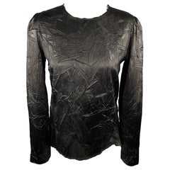 MAISON MARTIN MARGIELA Size 6 Black Wrinkled Acetate / Viscose Blouse
