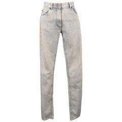 MAISON MARTIN MARGIELA Size 6 Light Grey Acid Wash Skinny Jeans
