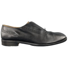 MAISON MARTIN MARGIELA Size 7 Black Leather Slip On Laceless Brogues