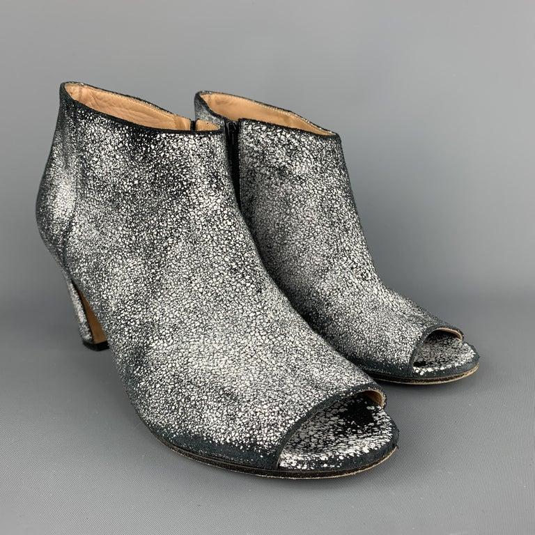 c6dd2c8a1e4 MAISON MARTIN MARGIELA Size 7 Black & White Painted Crackle Suede Peep Toe  Boots