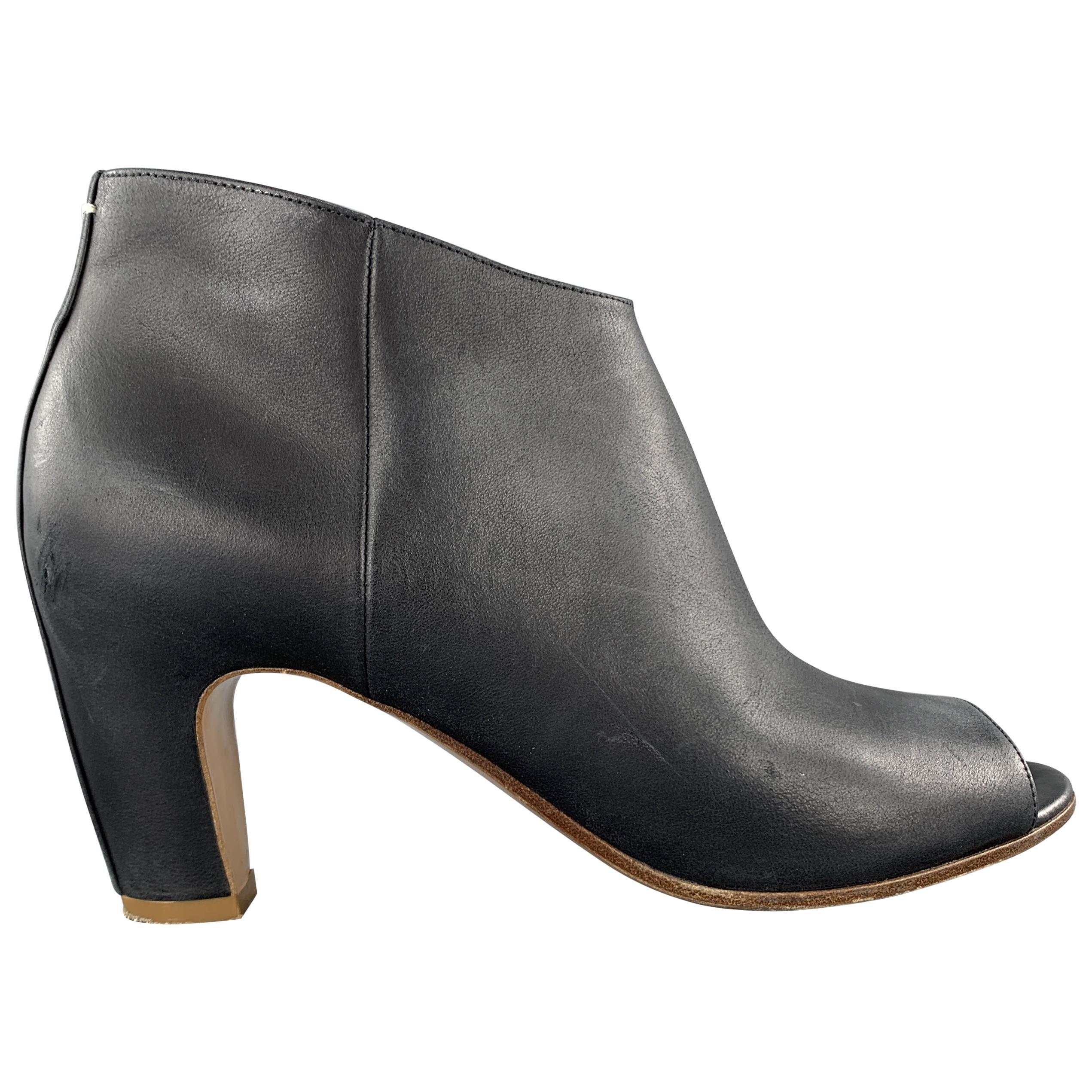 MAISON MARTIN MARGIELA Size 7.5 Navy Leather Peep Toe Ankle Boots