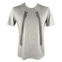 MAISON MARTIN MARGIELA Size L Heather Grey Cotton Zipper Print Crew-Neck T-shirt