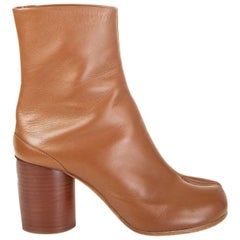 MAISON MARTIN MARGIELA Toffee brown leather TABI SPLIT-TOE Ankle Boots Shoes 36